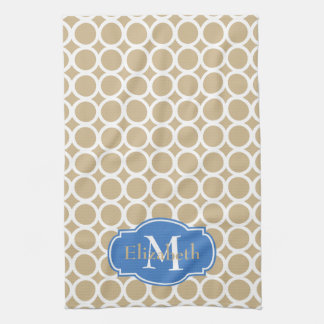 White Rings on Sand Monogram Kitchen Towel