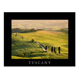 White road in Tuscany landscape black postcard