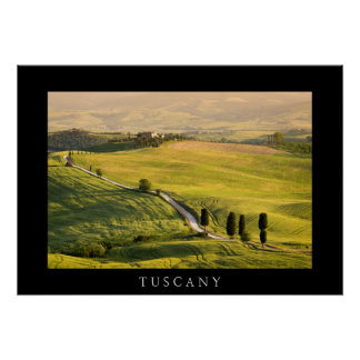 White road in Tuscany landscape black poster print