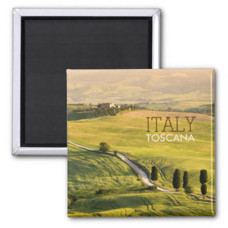 White road in Tuscany landscape text magnet
