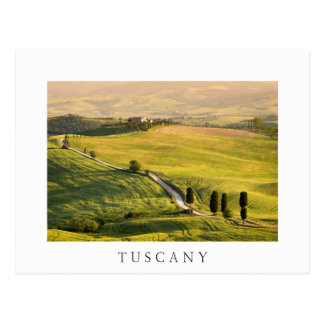 White road in Tuscany landscape white postcard