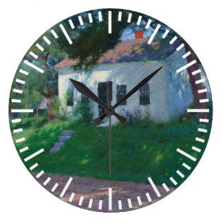 White Roadside Cottage by Dennis Miller Bunker Large Clock