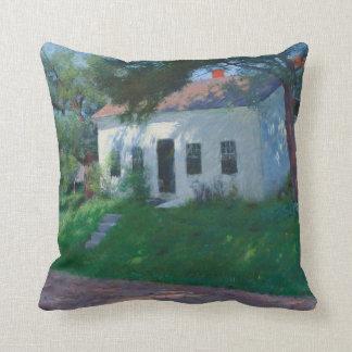 White Roadside Cottage by Dennis Miller Bunker Throw Pillow