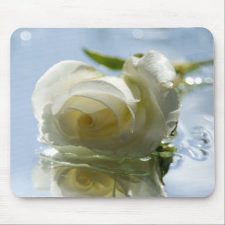 white romantic rose mouse pad