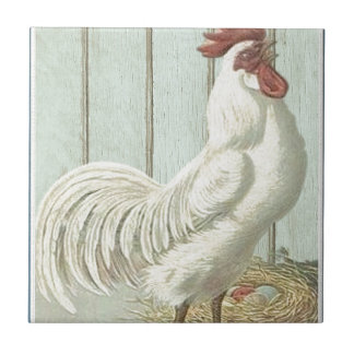 White Rooster Hen Decor Tile