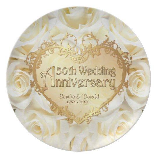 White Rose 50th Wedding Anniversary Plate