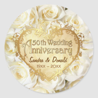White Rose 50th Wedding Anniversary Round Sticker
