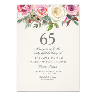 White Rose 65th 66th 67th 68th 69th Birthday Card