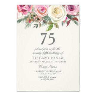 White Rose 75th 76th 77th 78th 79th Birthday Card