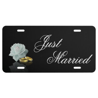 White Rose and Golden Rings Wedding License Plate