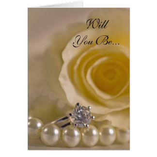 White Rose and Pearls Will You Be My Bridesmaid Card