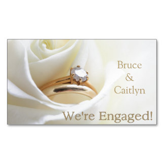 white rose and rings engagement announcement magnetic business card