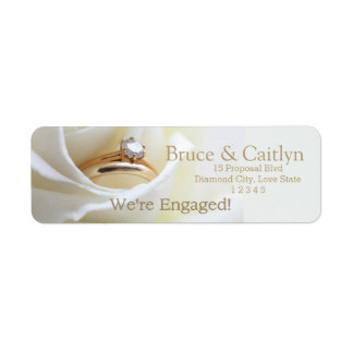 white rose and rings engagement announcement return address label
