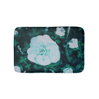 white rose bath mat