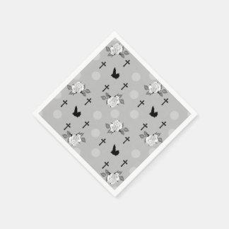 White Rose Bats Goth Print Napkin