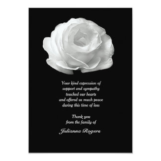 """White Rose Bereavement Thank You Notecards 5"""" X 7"""" Invitation Card"""