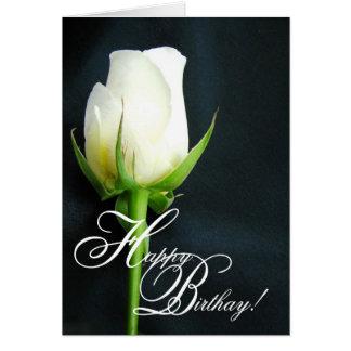White Rose Birthday Greeting Card