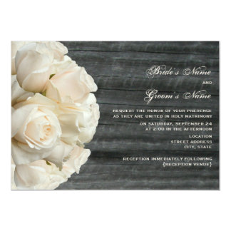 White Rose Bouquet & Barnwood Wedding Card