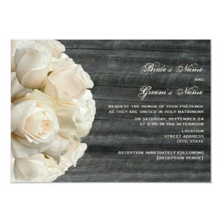 """White Rose Bouquet & Barnwood Wedding 5"""" X 7"""" Invitation Card"""