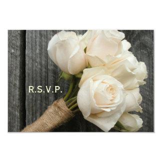 White Rose Bouquet & Barnwood Wedding R.S.V.P. Card