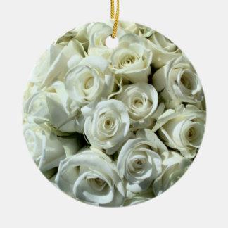 White Rose Bouquet-Ornament Ceramic Ornament