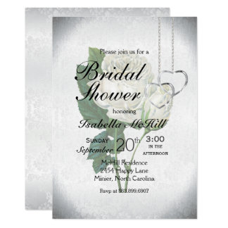 White Rose Bridal Shower -Invitation Card