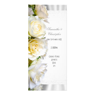 White rose floral church wedding program