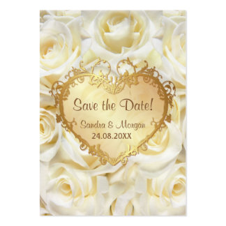 White Rose Floral Wedding Save the Date Business Card