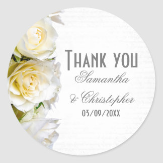White rose floral wedding thank you classic round sticker