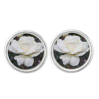 White Rose Flower Cufflinks