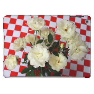 White rose flowers on red checker pattern case for iPad air
