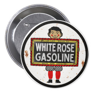 White Rose Gasoline sign rusted version 3 Inch Round Button