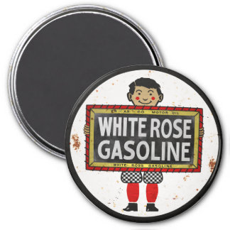 White Rose Gasoline sign rusted version 3 Inch Round Magnet