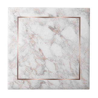 White & Rose-Gold Faux Marble Tile