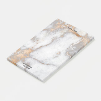 White Rose Gold Marble Stone Luxury Name Adress Post-it Notes