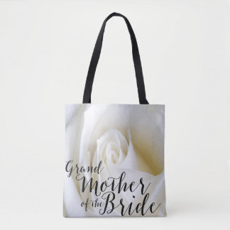 White Rose Grandmother of Bride Canvas Tote Bag