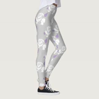 White Rose Grey Lavender Pattern Illustration Art Leggings