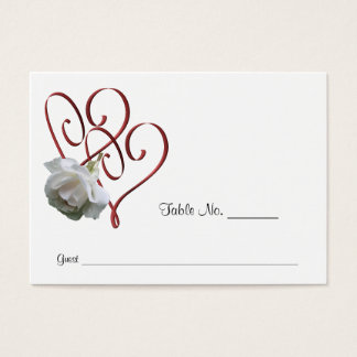 White Rose Heart Wedding Table Place Cards