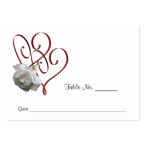 White Rose Heart Wedding Table Place Cards Business Card Templates