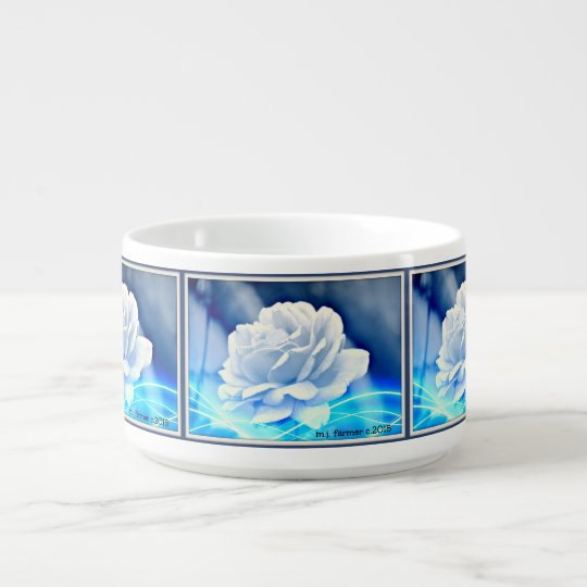 White Rose in Blue Hues Chili Bowl