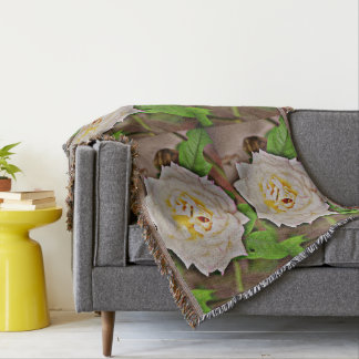 White Rose in Chromatic Throw Blanket