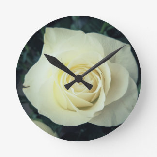 White Rose Mug Round Clock