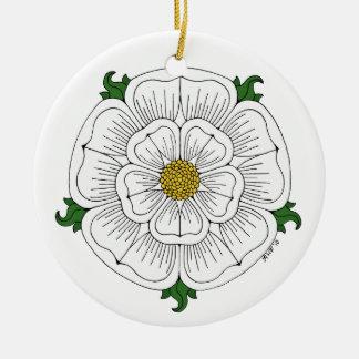 White Rose of York Ceramic Ornament