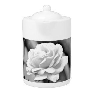 White Rose on Black Medium Tea  Pot