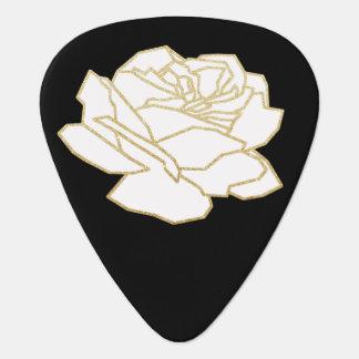 white rose on black pick
