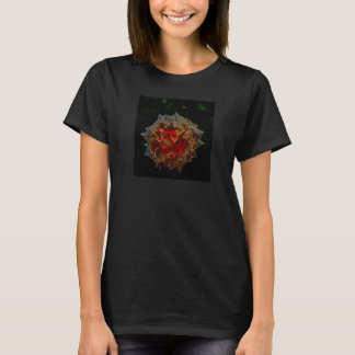 white rose on black T-Shirt