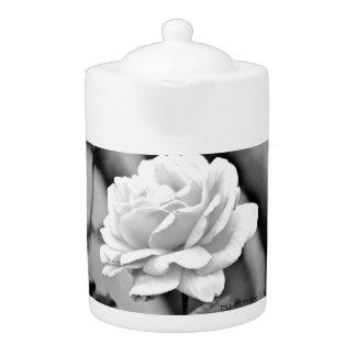 White Rose on Black Tea Pot