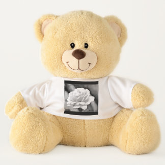 White Rose on Black Teddy Bear