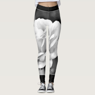 White Rose on Black Women's Leggings