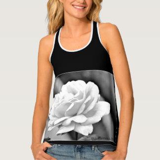 White Rose on Black Women's Tank Top